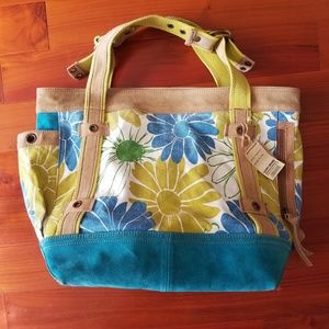 NWT Lucky Brand large suede and canvas tote bag